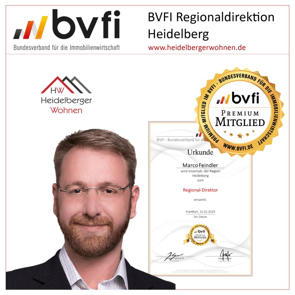 BVFI Regionaldirektion Heidelberg - Marco Feindler zum BVFI Regionaldirektor für Heidelberg ernannt